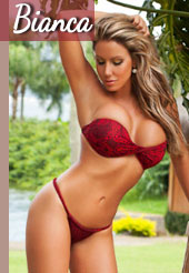 Bianca is a slender blonde with a large bust