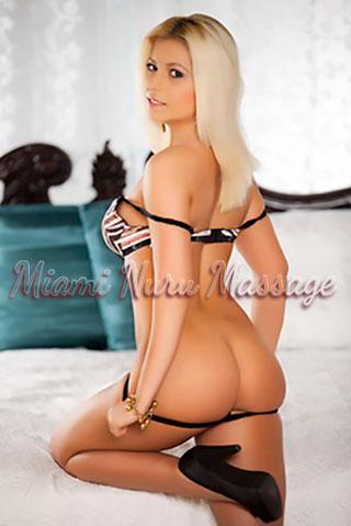 Alluring look on hot blonde wearing bra